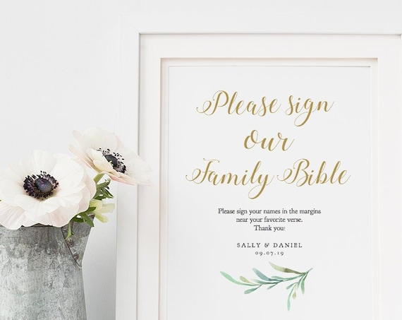 "Please sign our family bible, printable guest book sign, 8x10"", Greenery, Wedding Signage. Editable PDF"