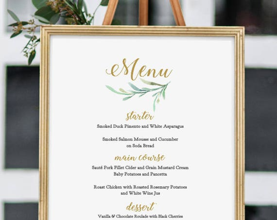 "Greenery Wedding Menu Template, Printable Bar Menu Reception Menu Template - 5x7"", 8x10"", 11x17"" and A3. DIY Menus. Edit in WORD or PAGES"