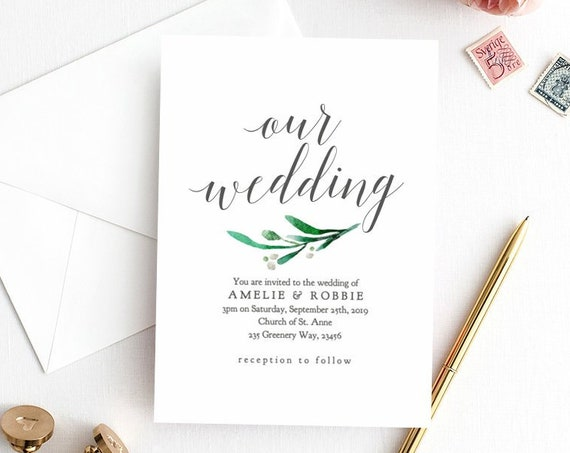 Printable Wedding Invitation, Printable Wedding Invite with Greenery, Invitation Template Instant Download, 'Amelie', Editable PDF