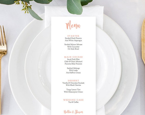 Coral wedding menu, 3 on a page, printable long menu cards, DIY printable menu, Bettie, any colour, Editable PDF