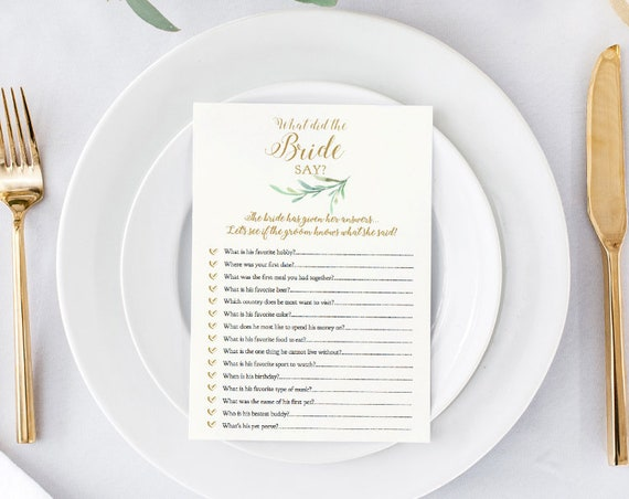"Groom Say, Bride Say Printable Wedding Games, 5x7"" ""Greenery"" Wedding Games, Editable PDF"