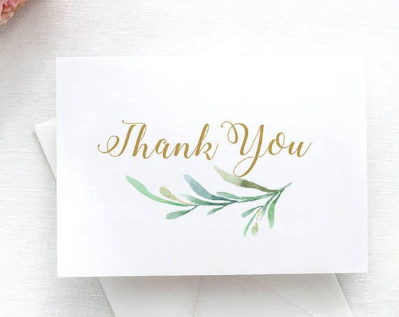 Thank You Card Printable. Wedding Thank You Card with Greenery. 4 per page. Download and Print. PDF. DIY Wedding.