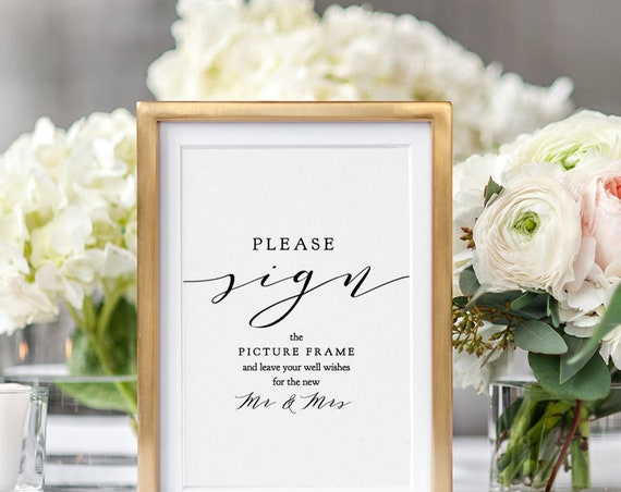 "Please Sign, Printable Custom Sign, 5x7"" and 8x10"" Direct your guests to sign your favourite guest book object ""Wedding"" Editable PDF"