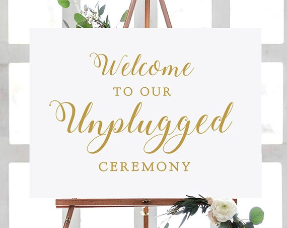 "Unplugged Ceremony Sign, Unplugged Wedding Sign, 18x24"" and A2, Greenery, Printable Wedding Signage. Download and Print"