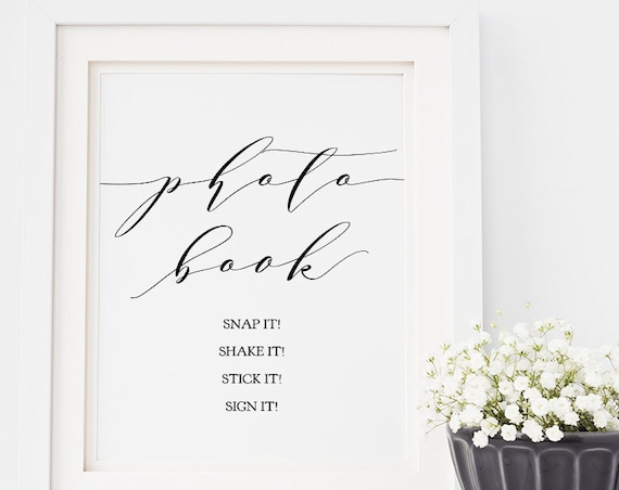 "Photo Guest Book Sign, Snap it Shake it Stick it Sign it Printable Sign, 8x10"" ""Wedding"" Download and Print!"