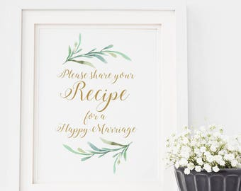 """Please Share Your Recipe for a Happy Marriage Wedding Sign Printable, 8x10"""" printable sign, Download and Print"""