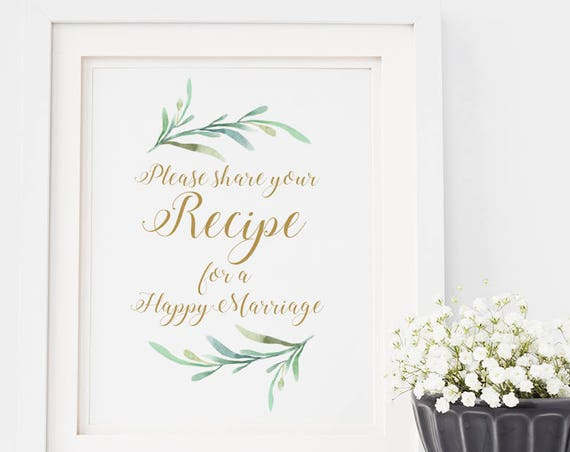 "Please Share Your Recipe for a Happy Marriage Wedding Sign Printable, 8x10"" printable sign, Download and Print"