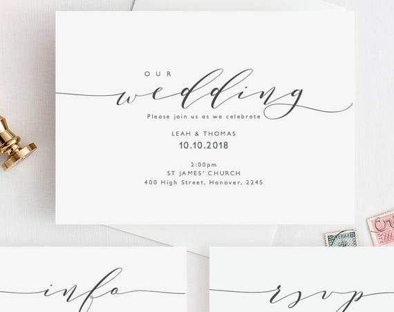 "Wedding Invitation Template Invitation Set | Printable wedding invitation, rsvp, info | DIY invitations | ""Wedding"" 