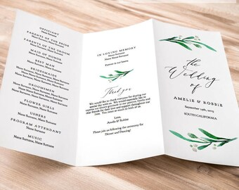 trifold wedding program printable or folded trifold invitation etsy