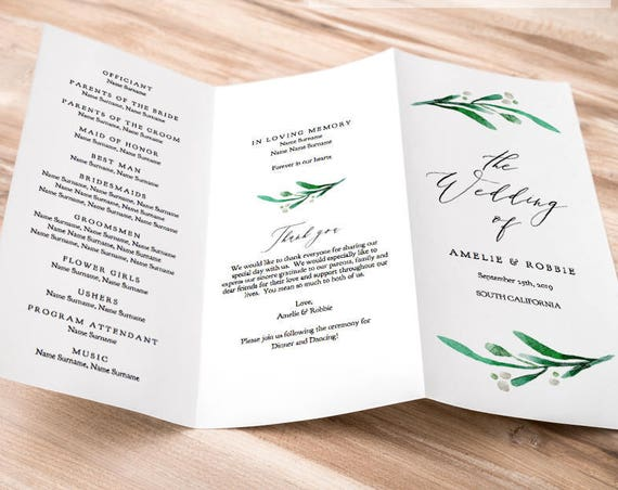 "Z Fold or Trifold Wedding Program Printable Template Order of Service Greenery Wedding, no trimming ""Wedding Greenery"" Editable PDF"