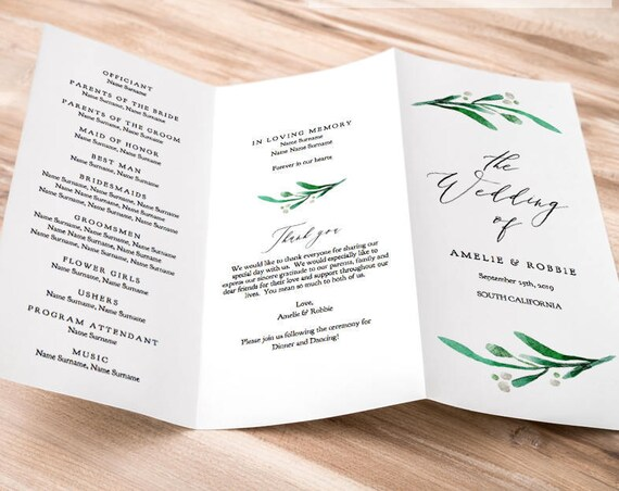 "Z Fold or Trifold Wedding Program Printable Template Order of Service Greenery Wedding, no trimming ""Wedding Greenery"" Edit in ACROBAT"