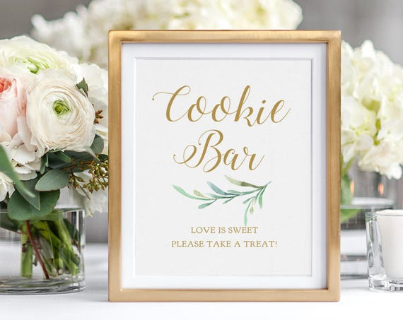"Cookie Bar Sign, Love is Sweet Please Take a Treat Sign, Wedding Signage, 8x10"". ""Greenery"" Download and Print"