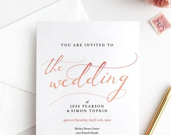 Wedding Invitation in Rose Gold effect, Printable Invitation template, Wedding Invitation, Rose Gold EFFECT, 'LucyRose', Editable PDF