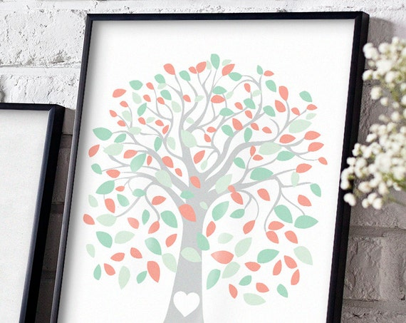 Mint and coral tree printable, sign a tree, instantly download, print! 18x24 Handwrite your names/initials in heart, guests can sign a leaf