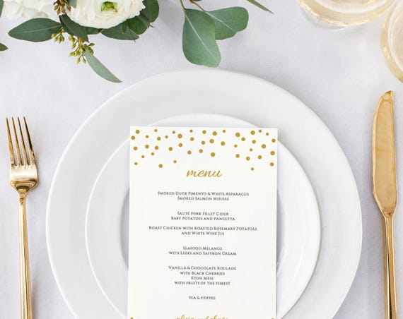 Gold menu template printable, confetti printable menu card, long and 5x7, gold wedding, Orlando | Edit in WORD or PAGES