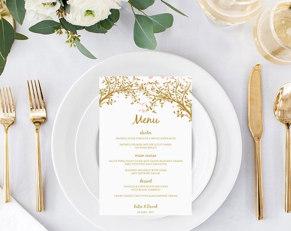 Tree Menu Printable Templates, Instant Download, Any colour, Leaves, Wedding Menu | Edit in WORD or PAGES