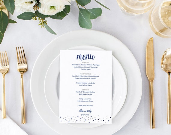Blue Menu Printable, Printable Wedding Menu shown in navy & silver, can be ANY colour. Dotty Shimmer | Edit in WORD or PAGES