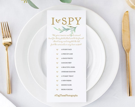 "Hashtag I Spy Sign, Printable Wedding Game, I Spy Sign 4x9"", 8x10"" and 5x7"", Disposable Camera ""Greenery"" Wedding Signage. Editable PDF"
