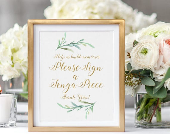 "Sign a Jenga Piece Guest Book Wedding Sign Printable Help us build memories sign a Jenga piece Wedding Signage, 8x10"" & 5x7"" download, print"