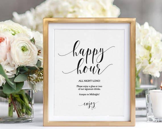 Happy Hour Printable Sign, Wedding Bar Sign, 8x10 Editable Wedding Sign, Editable PDF