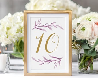 """Lilac Table Numbers, Lilac Printable Wedding Table Numbers 4x6"""" & 5x7"""", Corjl Template, FREE Demo"""