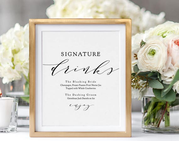 "Signature Drinks Printable template, Wedding Signature Drink Sign, Signature Cocktails, 8x10"" + 5x7"" wedding sign, ""Wedding"" Editable PDF"