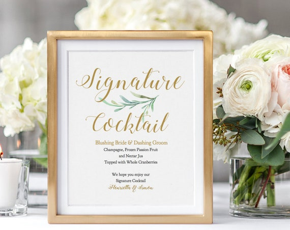"""Signature Cocktail Sign, Bride and Groom Cocktail, Printable Signature Drink Sign Wedding, 5x7"""" and 8x10"""" """"Greenery"""" Edit in ACROBAT"""