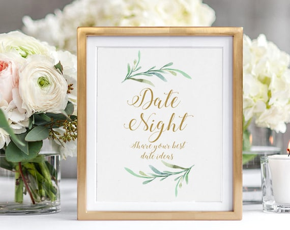 Date Night Ideas Cards + Sign, Bridal Shower Wedding Ideas Date Night Jar.  Printable cards, Sign Greenery. Best Date Night. Download Print.