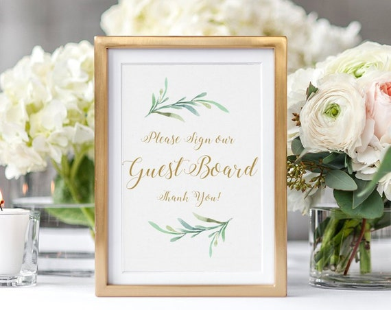 "Guest Board Sign, Printable Please Sign our Guest Board Wedding Sign, Wedding Signage, 8x10"" and 5x7"", Download and Print."