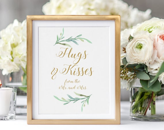 "Hugs and Kisses from the Mr. and Mrs. Wedding Sign Printable, 8x10"" printable sign, Download and Print"