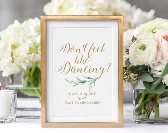 "Game Table Sign, Printable Gaming Table Sign ""Greenery"" Wedding Sign Printable in 5x7"" and 8x10"". Download + Print"