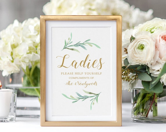 "Ladies Please Help Yourself Sign, Printable Compliments of the Newlyweds sign, Ladies, Gentlemen, ""Greenery"" 5x7"" & 8x10"" Download and Print"