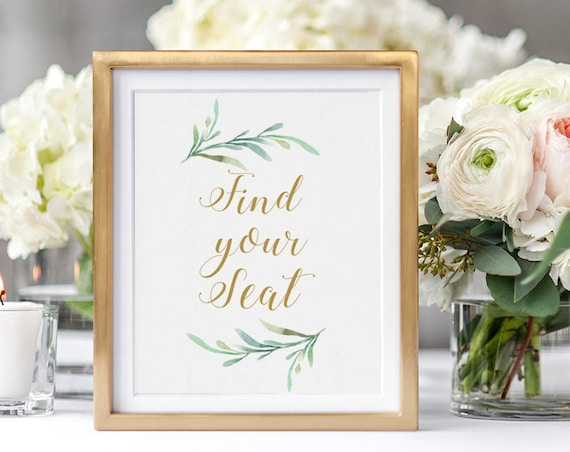 "Find Your Seat Sign Wedding Sign Printable. Printable Find Your Seat sign, Greenery, Wedding Signage, 8x10"". Download and Print"