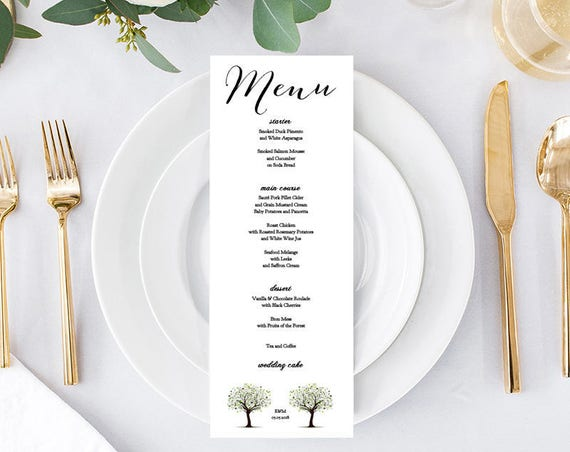 Tree Wedding menu template, 2 versions, 'Tree of Love'. Edit, print, trim | DIY Editable printable menu template | DIY menu