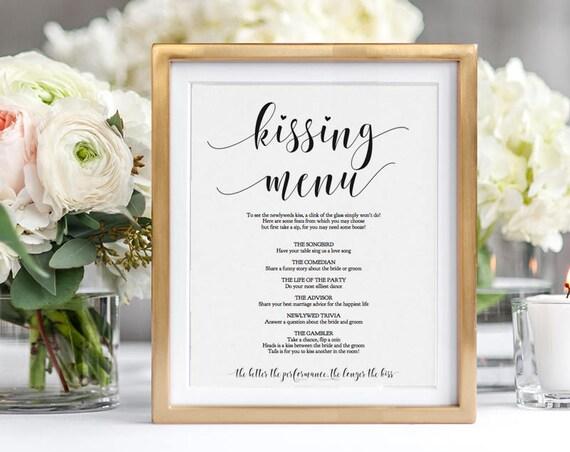 Kissing Menu Printable Sign, Wedding Kissing Menu Sign, 8x10 Editable Wedding Sign, Editable PDF
