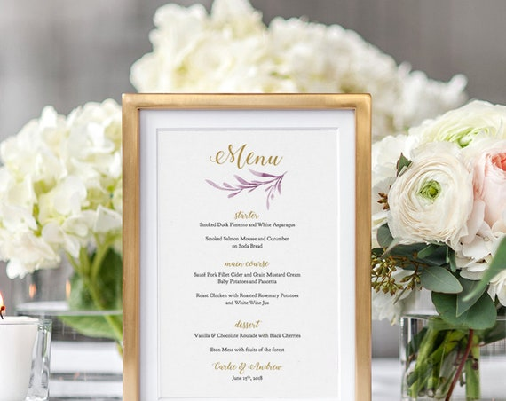 Lilac wedding menu template, printable reception menu - 5x7 inches. DIY menu cards. 'Lilac Wedding' Editable Word document template