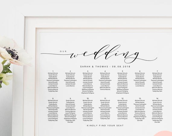 "Wedding seating chart printable wedding seating chart poster template DIY. ""Wedding"" A2, A1, 18x24"" & 24x36"" sizes included. Editable PDF"