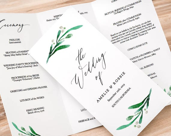 "Trifold Wedding Program Printable Template Folded Order of Service Z Fold Greenery Wedding, no trimming ""Wedding Greenery"" Editable PDF"