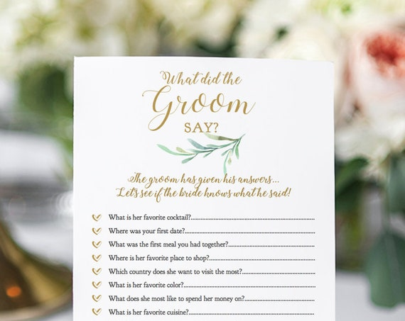 "What Did The Groom Say Game, Editable Printable Bridal Shower What did the Groom say cards, 5x7"" Greenery, Newlywed Games. Editable PDF"
