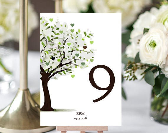 Tree table number template, 'Tree of Love'. 5x7 inch numbers Edit, print | DIY Editable printable table number template | Word docx