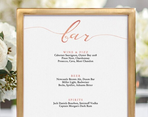 "LucyRose - Rose Gold Bar Printable Sign, 'bar' is fixed, 8x10"", 18x24"" and A2 sizes included in the download Rose Gold EFFECT, Editable PDF"