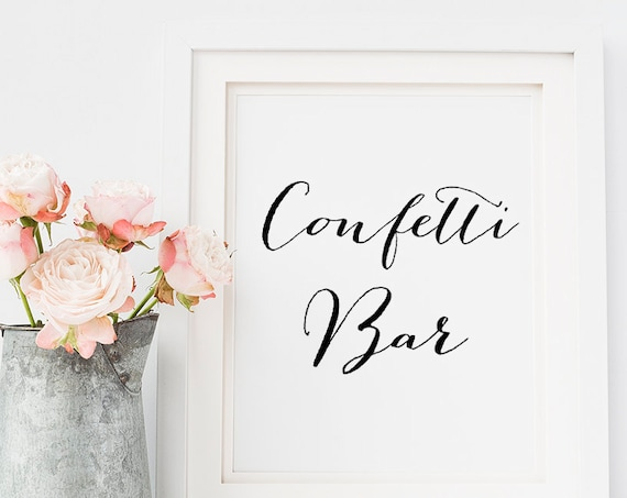 "Confetti Bar sign, printable wedding sign, PDF wedding signs, wedding printable, Sweet Bomb. 8x10"" & 18x24"" Download and print"