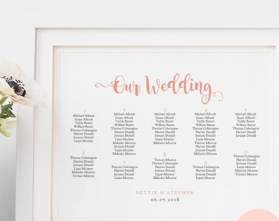Wedding table plan PDF templates, seating charts, Bettie | 6 sizes including 18x24, 24x36, A1, A2, A3 | Landscape | Editable PDF