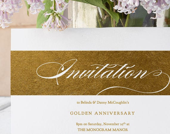 """Gold Party Invitation Wedding Anniversary Printable, """"Royal"""" Metallic Gold, New Year, 50th Anniversary, Birthday Party. Edit in WORD"""