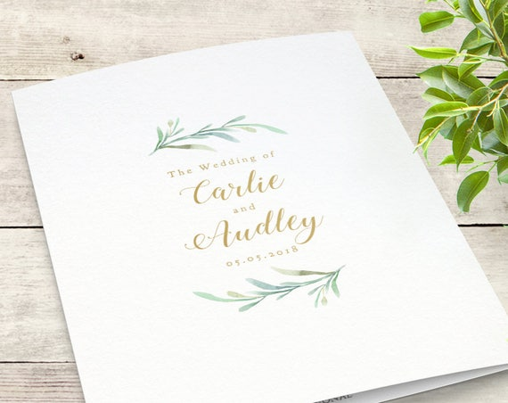 Greenery Booklet Wedding Program Template, Order of Service Booklet | Printable Wedding Program Template DIY Wedding, Edit in WORD or PAGES