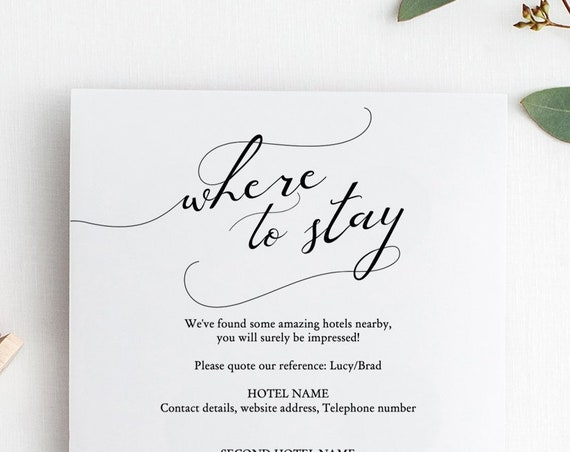 "Lucy - Where to Stay Accommodations Card, Printable Accommodation cards, DIY Wedding, 5x5"", 4x6"", Corjl Template, FREE Demo"