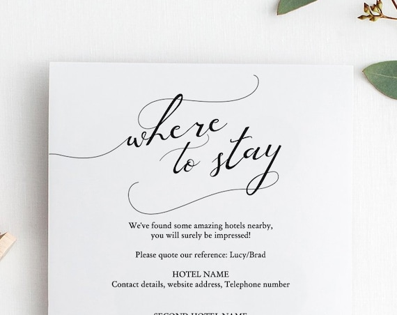 "Lucy - Where to Stay Accommodations Card, Printable Accommodation cards, DIY Wedding, 5x5"", Editable PDF"