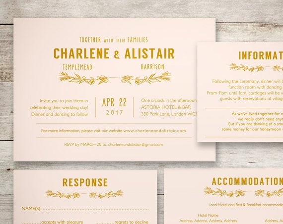 Blush gold wedding Invitation template set, response, accommodation, information, invitation, any colours! printable templates, 'Ellen'