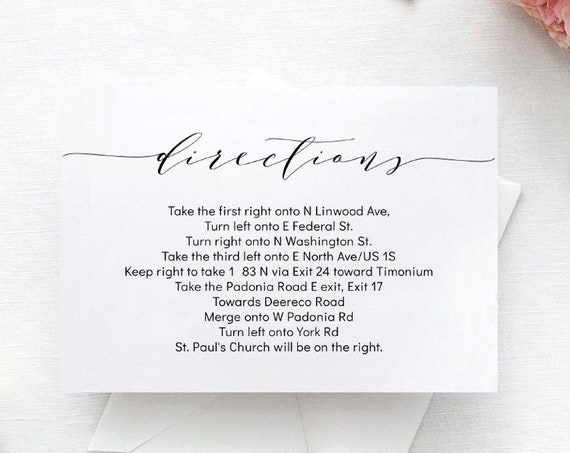 "Romantic Directions Card, Guest Enclosure for Wedding Invitation Set, 5x3.5"", ""Wedding"" Corjl FREE Demo"