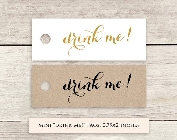 "Mini drink me! 2x0.75"" printable favor tags, printable wedding label favour tags gold, black, Byron, Download and Print"